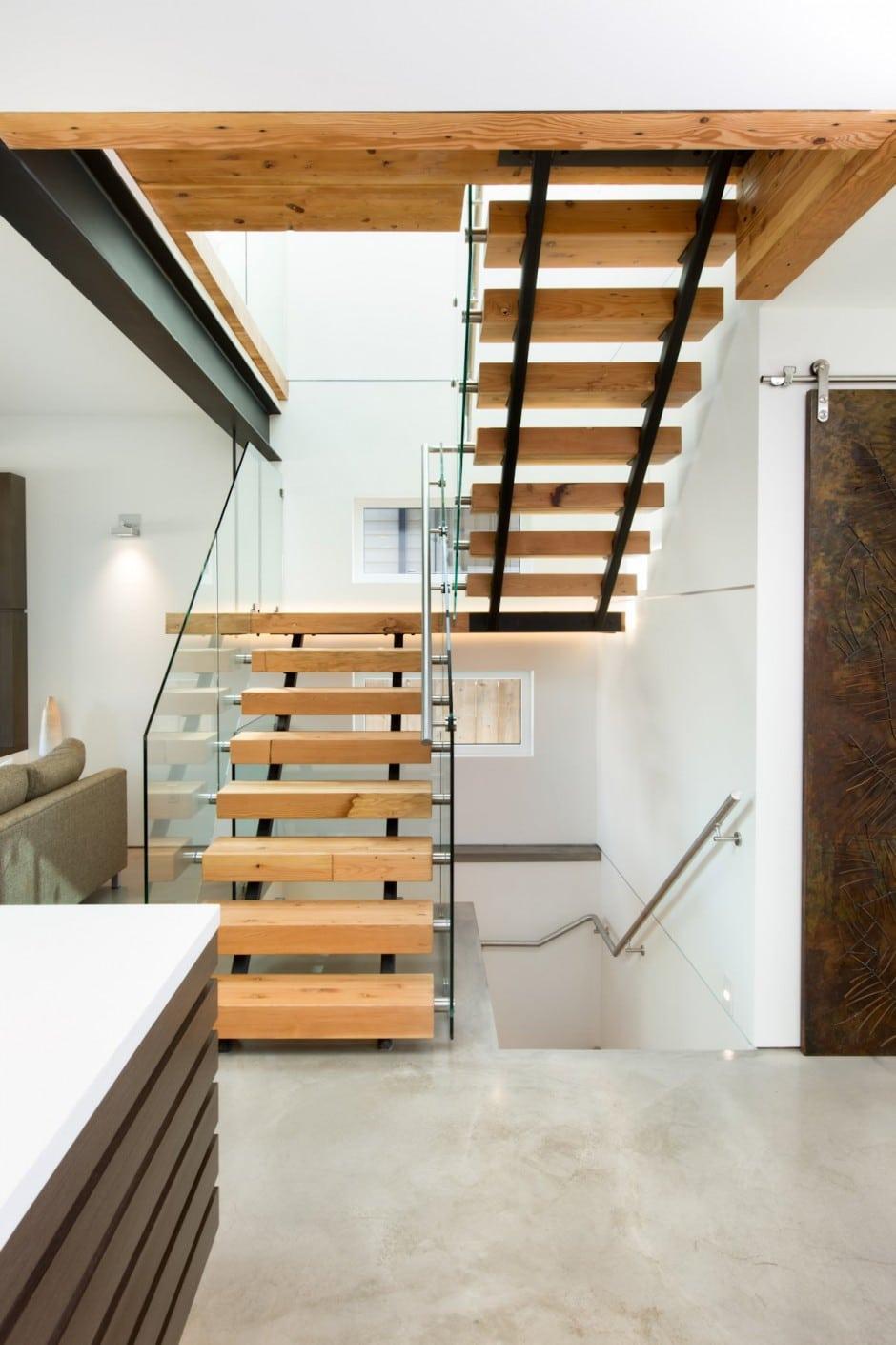 diseo de escaleras modernas con pasamanos de vidrio laminado