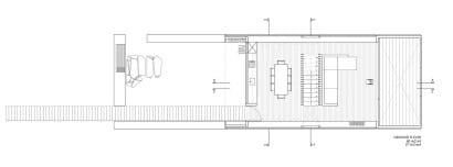 Plano de casa moderna en terreno angosto