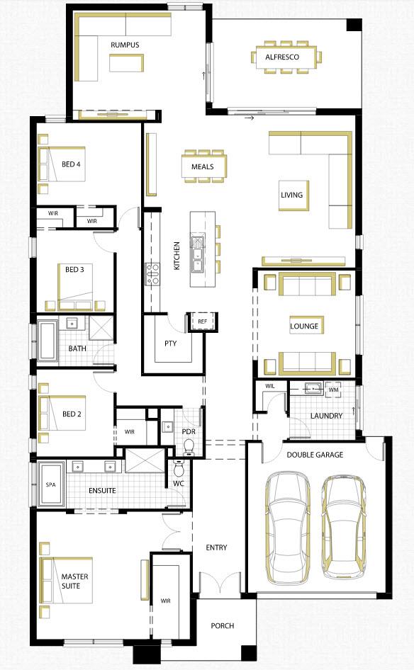 Dise o de casa de una planta con planos y fachadas for Planos de casas de un piso gratis