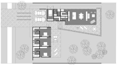 Planos de casa de una planta en forma de L