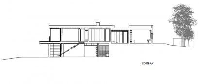 Corte AA de casa moderna de dos plantas