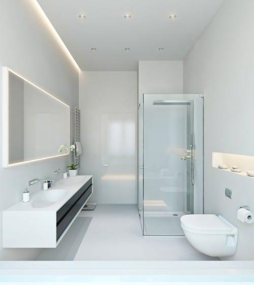 Cuarto de baño ultra moderno de lineas rectas
