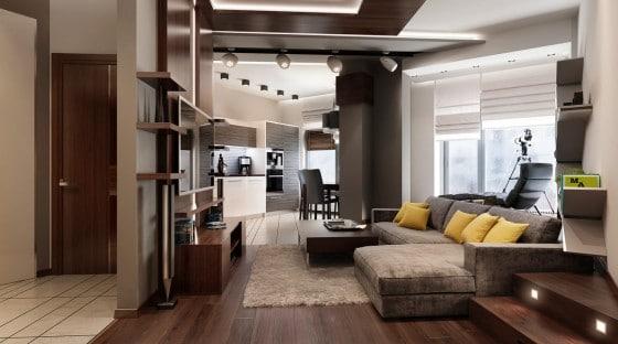 Decoración de interiores con madera de sala moderna