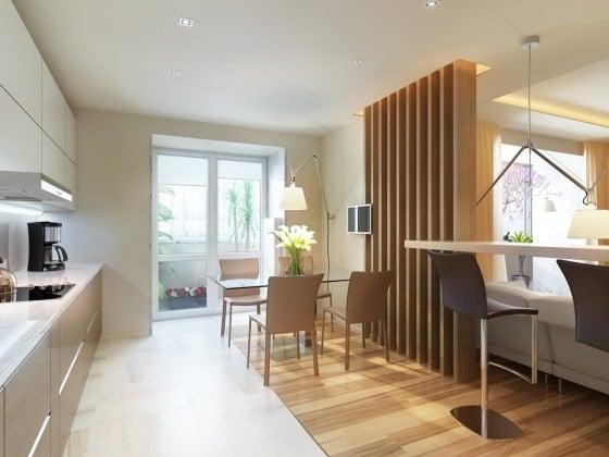 Diseño de cocina comedor moderno con separador de ambientes