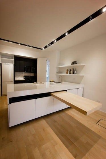 Diseño de cocina con isla flotante