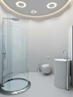 Diseño de cuarto de baño circular