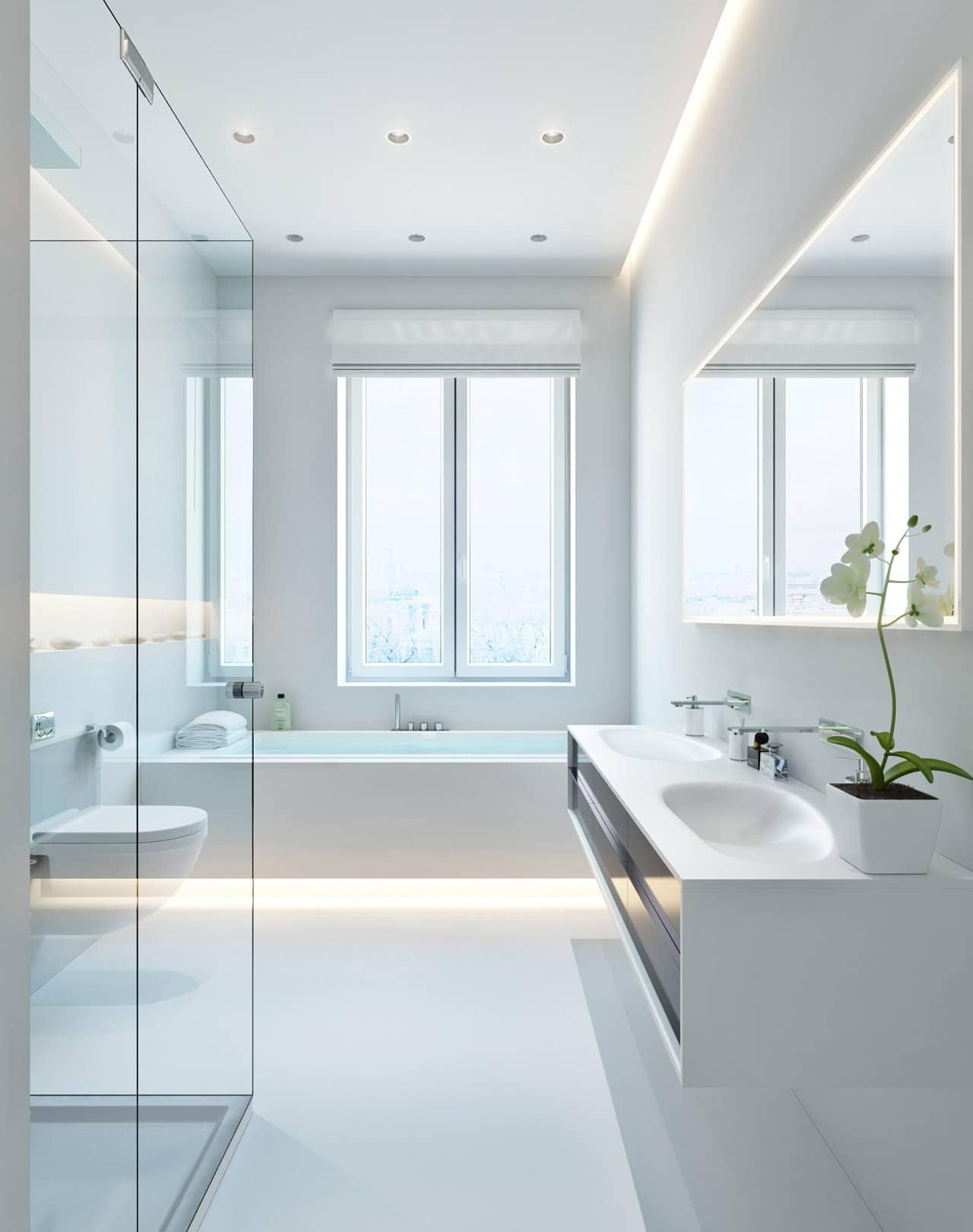 Baño Minimalista Rojo:White Bathroom Lighting