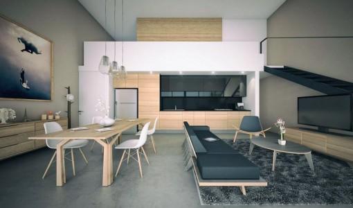 Diseño de mini departamento con mezzanine