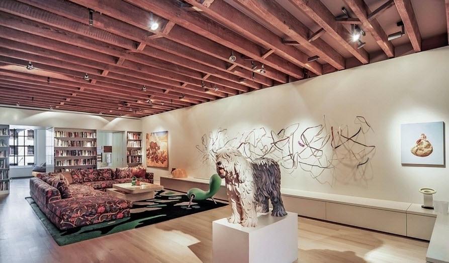 decoracion interiores departamentos rusticos:Diseño de la sala con muebles clásicos y elementos de decoración de