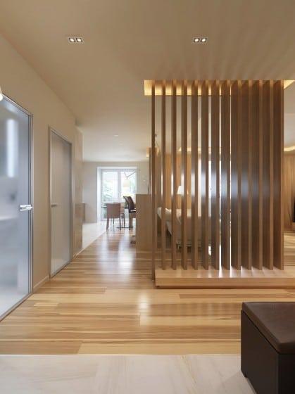 Diseño de separador de ambientes con listones de madera