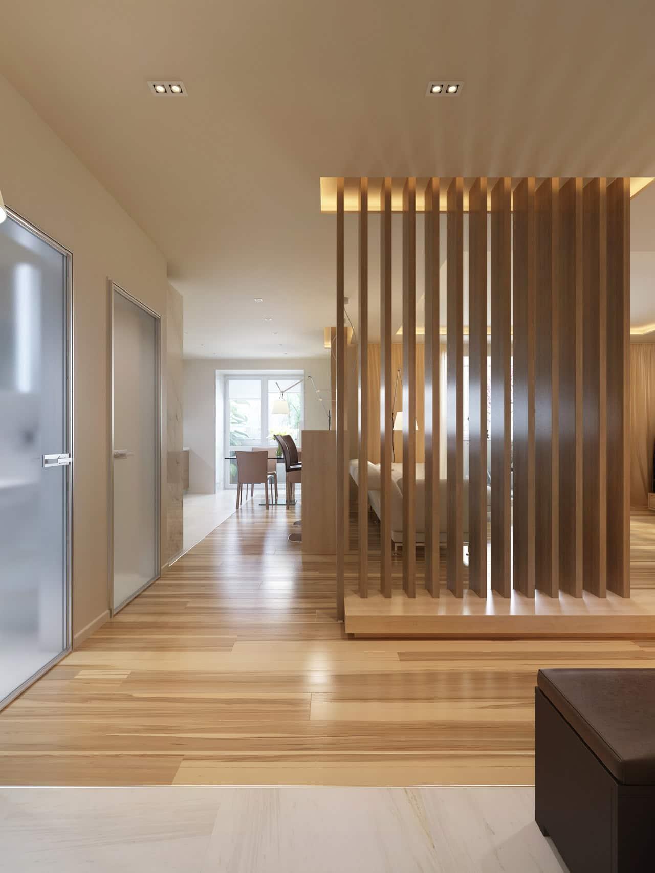 Wooden Slat Divider Wall~ Decorar Interiores Virtual