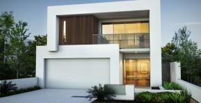 planos y fachada de moderna casa de dos plantas con slida estructura de hormign casa pequea