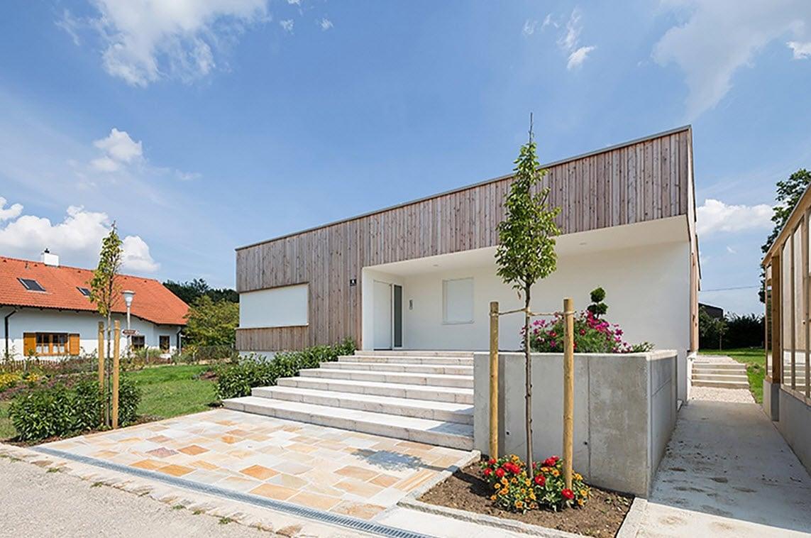 Plano De Casa De Una Planta Con Fachadas Construye Hogar