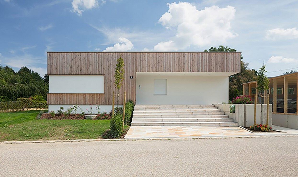 Plano de casa de una planta con fachadas construye hogar - Casas de madera de una planta ...