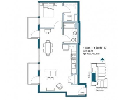 Plano de apartamento de un dormitorio