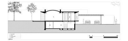 Plano de corte de casa de una planta