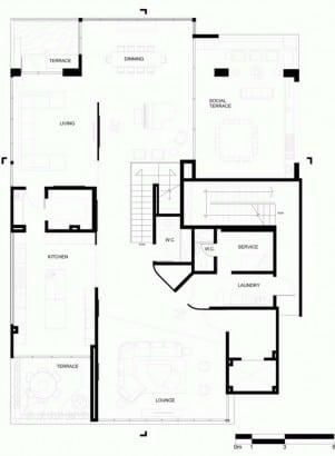 Plano de departamento de dos pisos de lujo