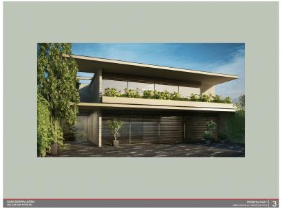 Render de fachada de casa de dos pisos