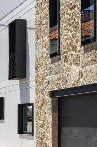 Detalles de fachada de casa remodelada