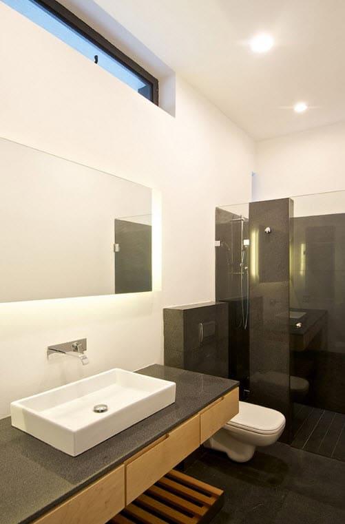Baño Gris Con Madera:Cuartos de bao blanco y gris : Diseño de planos de casa de dos