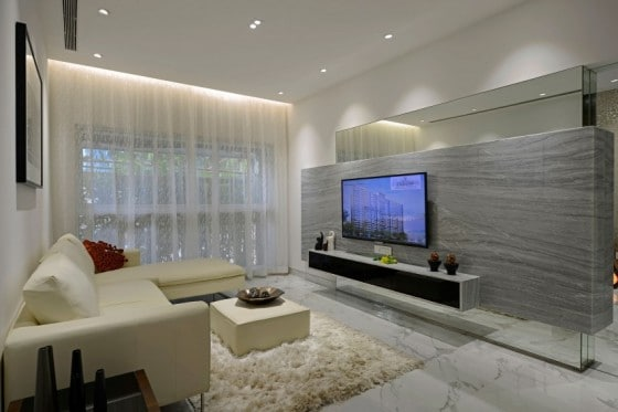 Diseño de interiores de estar tv de departamento moderno
