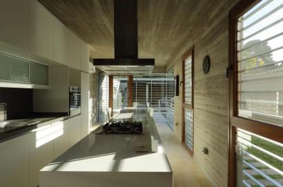 Diseño de moderna cocina larga
