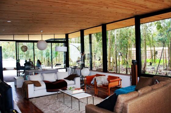 Diseño de sala estar de casa de un piso en el campo