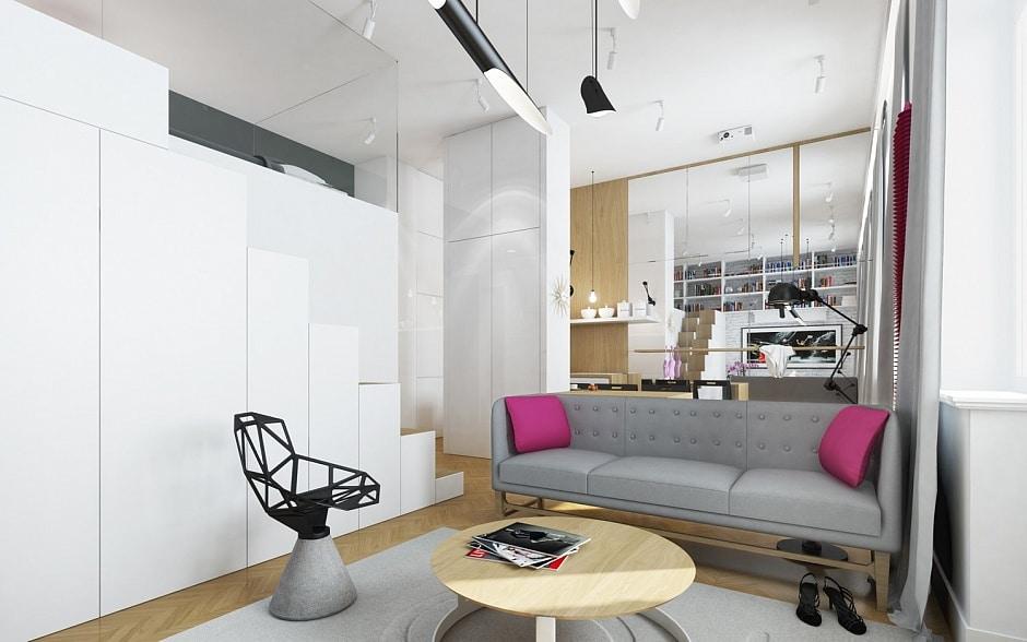 Decoracion De Baños Pequenos Departamentos:3D de departamento pequeño de forma cuadrada, no puedes dejar de
