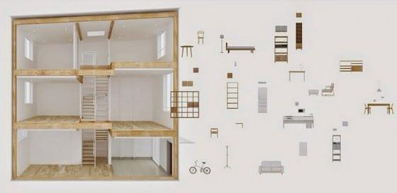 Equipamiento de  muebles de casa prefabricada