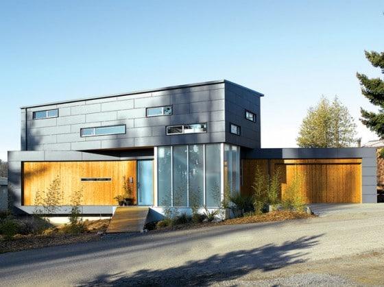 Fachada de moderna casa de dos pisos 2