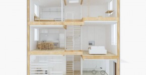 Maqueta de casa prefabricada de tres pisos