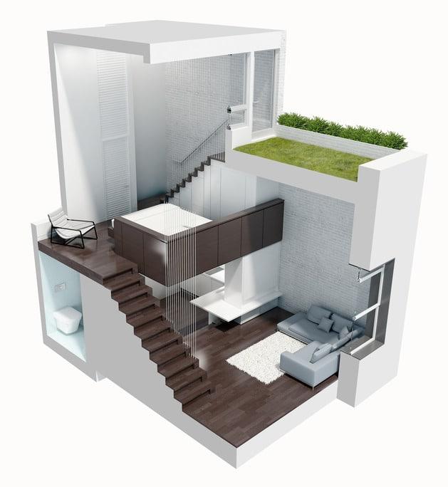 Dise o de mini departamento moderno construye hogar for Maquetas de apartamentos modernos