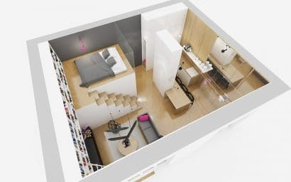 Plano 3D de departamento pequeño cuadrado