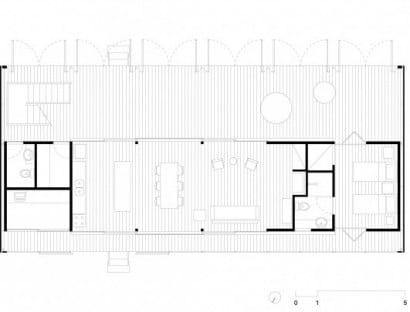 Plano de casa de campo de forma rectangular