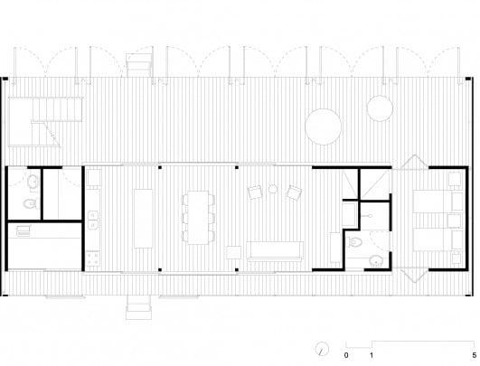 Plano de casa rural de forma rectangular