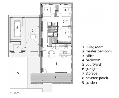 Plano de casa de un piso sustentable