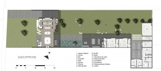 Plano de casa en terreno grande - Primer Piso