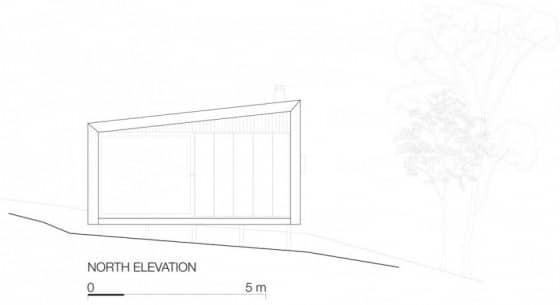 Plano de elevación de pequeña casa de campo