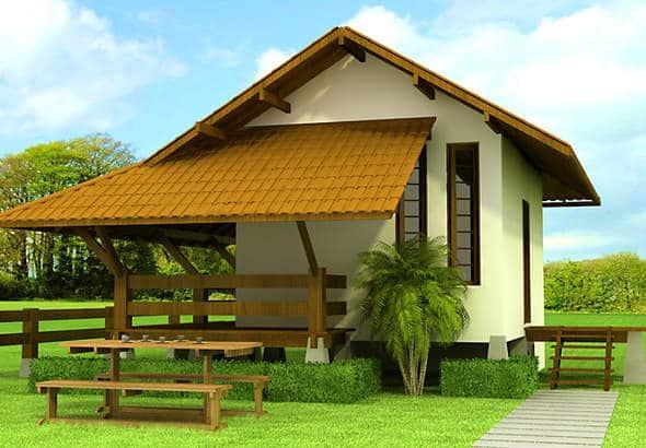 plano de pequea cabaa de m con terraza cubierta ideal para el descanso diario
