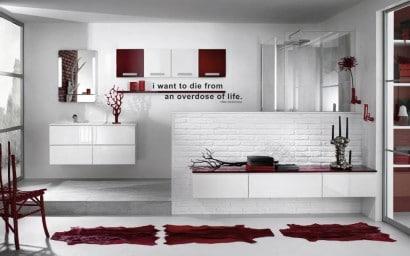 Diseño de cuarto de baño color rojos