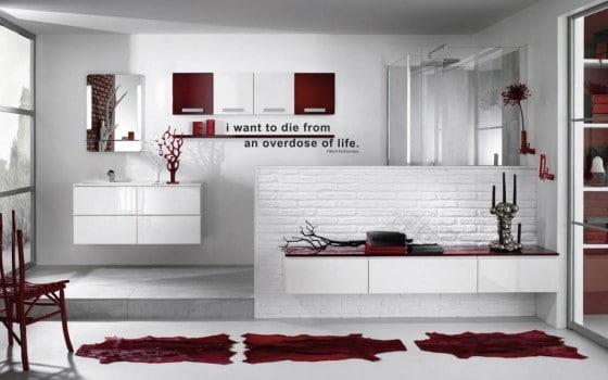 Diseño de cuarto de baño color rojo y blanco