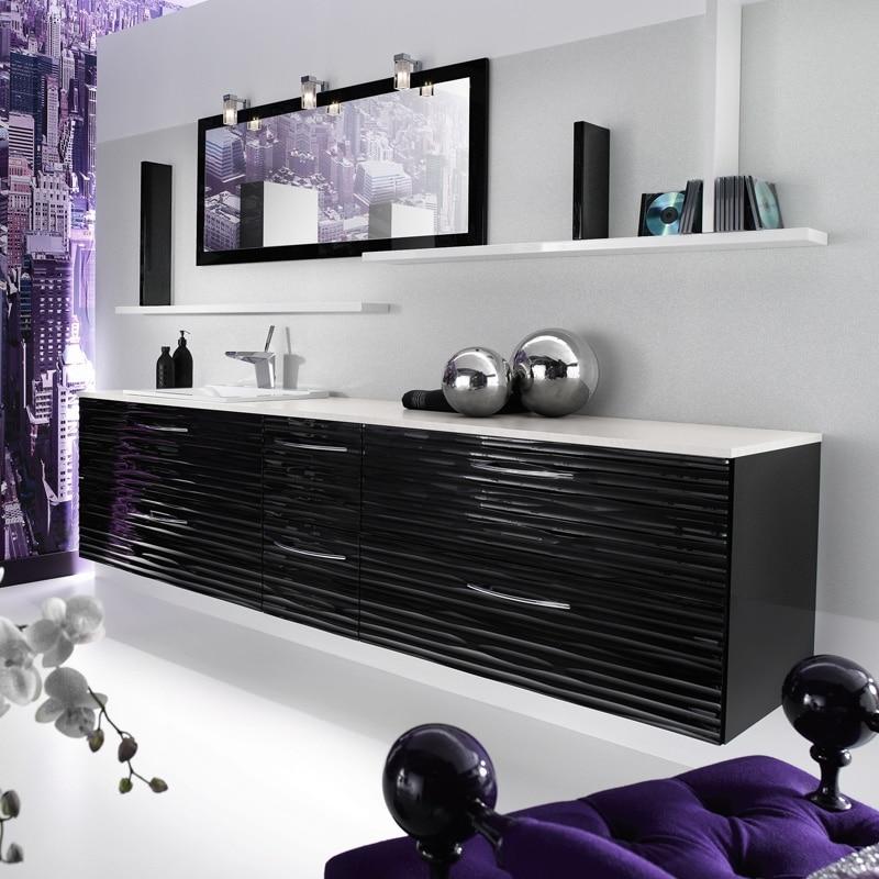 Baños Modernos Acabados:Diseño de mueble de cuarto de baño color negro con texturas en alto