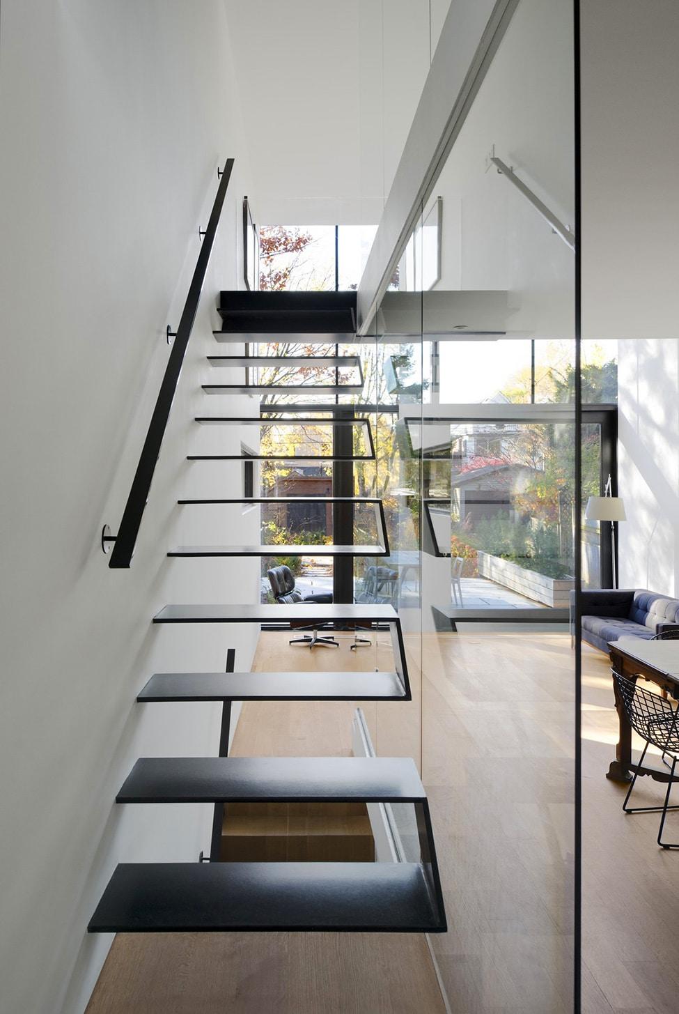 Planos de casa angosta y larga construye hogar for Imagenes escaleras modernas