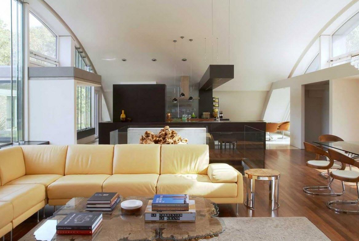 Dise o de casa grande moderna forma arco construye hogar for Salas de madera modernas