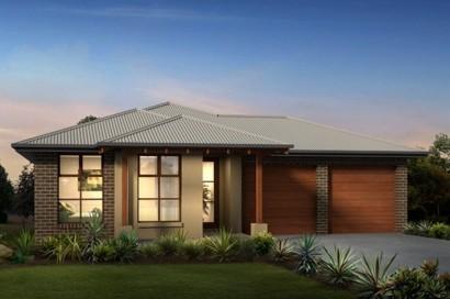 Fachada de casa de un piso moderno con techos inclinados