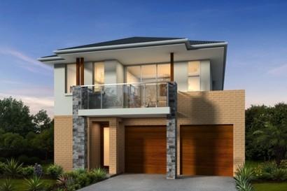 Fachada de casa moderna de dos pisos
