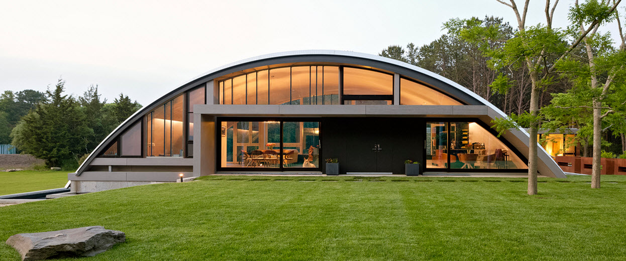 Dise o de casa grande moderna forma arco construye hogar for Casa moderna arco