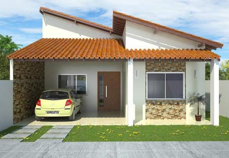 Fachada de casa peque a de un piso y tejado construye hogar for Pisos para casas pequenas