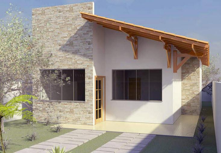 Plano de casa econ mica de dos dormitorios construye hogar for Fachadas de casas modernas con zaguan
