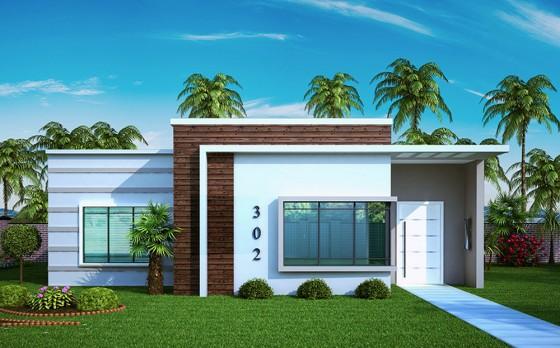 Fachada de moderna casa de un piso